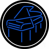 Blue Piano Logo White Border 3 Neon Sign