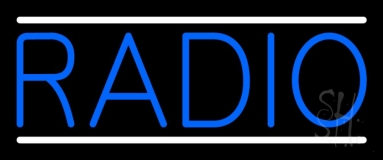 Blue Radio Music White Line Neon Sign