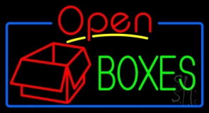 Green Boxes Red Logo With Open 4 Neon Sign