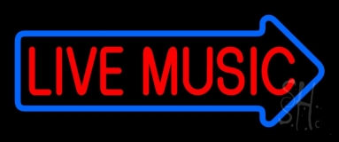 Live Music Block Arrow 2 Neon Sign