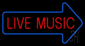 Live Music Block Arrow Neon Sign