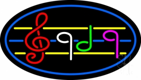 Musical Notes Blue Border Neon Sign