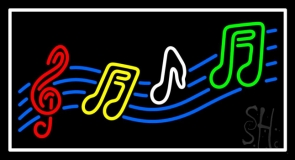 Musical Notes White Border Neon Sign