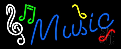 Music Blue 1 Neon Sign