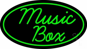 Music Box Oval Neon Sign