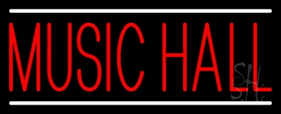 Music Hall White 1 Neon Sign