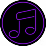 Music Note Purple Neon Sign