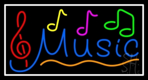 Notes Music White Border 2 Neon Sign
