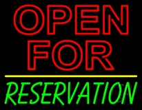 Open For Reservation With Line Neon Sign