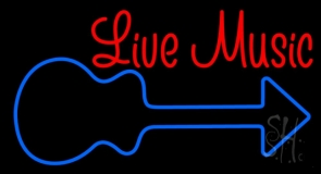 Red Live Music With Blue Logo Neon Sign