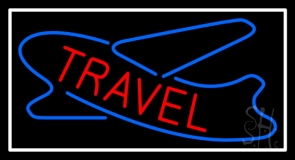 Red Travel With Blue Logo Neon Sign