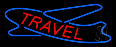 Red Travel With Logo Neon Sign