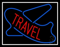 Red Travel With White Border Neon Sign