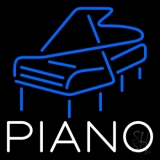 White Piano Blue Logo 4 Neon Sign