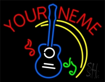 Custom Blue Guitar Logo Neon Sign