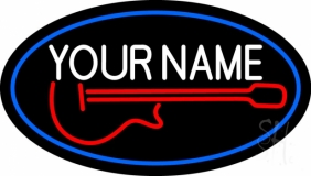 Custom Red Guitar Logo Blue Border Neon Sign