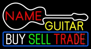 Custom Yellow Guitar Buy Sell Trade LED Neon Sign