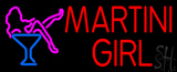 Red Martini Girl with Logo Neon Sign
