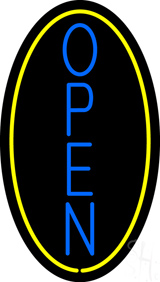 Vertical Open with Oval Neon Sign
