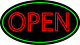 Double Stroke Open Green Oval Neon Sign