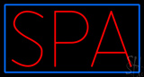 Red Spa Blue Border Neon Sign